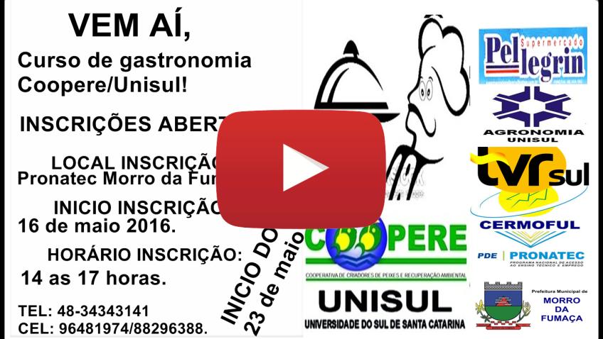 1º CURSO DE GATRONOMIA COOPERE/UNISUL MORRO DA FUMAÇA-  Cardápio: Comida de Boteco Aula  3