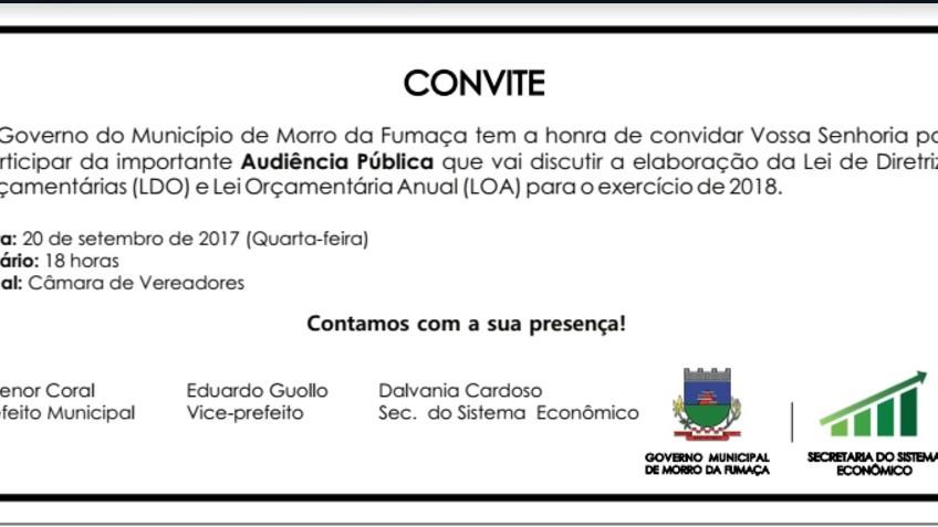 Audiência pública vai discutir o LDO e LOA de Morro da Fumaça