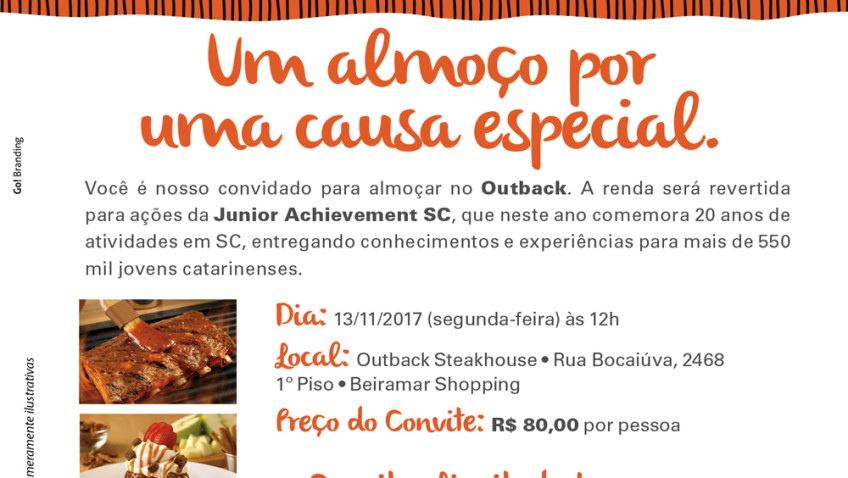 Junior Achievement realiza almoço beneficente no Outback em Florianópolis