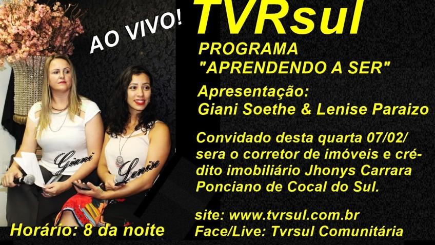 Mais uma boa entrevista aqui no site: www.tvrsul.com.br, Tambem no face/live Tvcrsul Comunitária