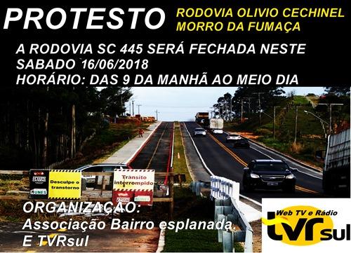 Protesto na rodovia Olívio Chechinel em Morro da Fumaça