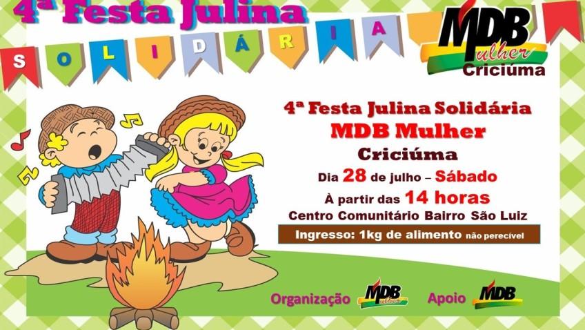 MDB Mulher promove quarta edição da Festa Julina Solidária