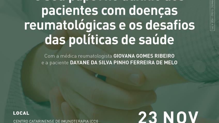 Palestra gratuita aborda a importância das associações de pacientes no apoio aos diagnosticados com doenças reumatológicas e autoimunes