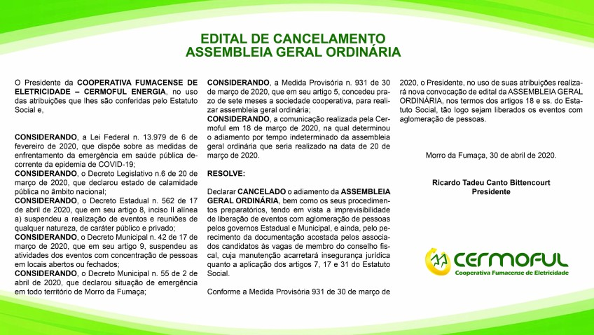 EDITAL DE CANCELAMENTO – AGO EDITAL DE CANCELAMENTO  ASSEMBLEIA GERAL ORDINÁRIA